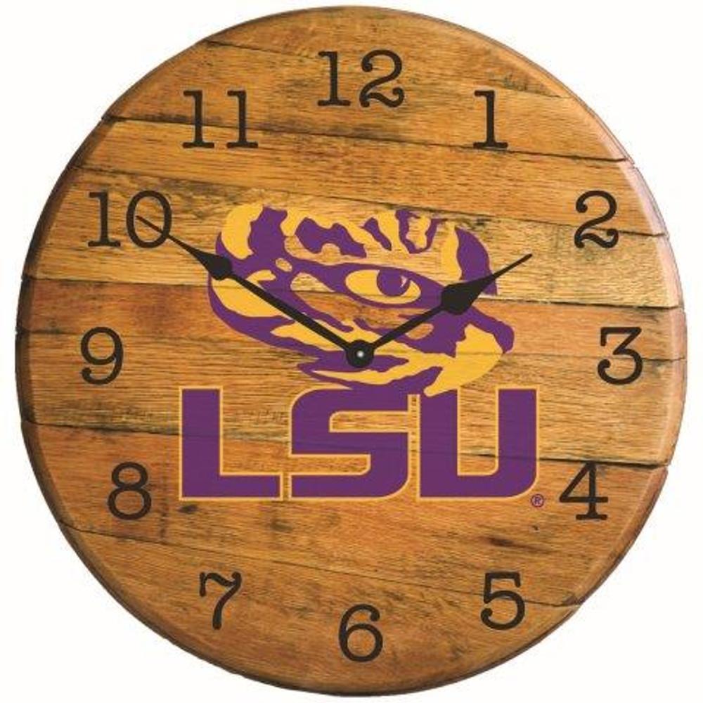 "LSU Tigers Logo 21"" Barrel Team Clock   GREENSTONES  BTC-LSU-01"