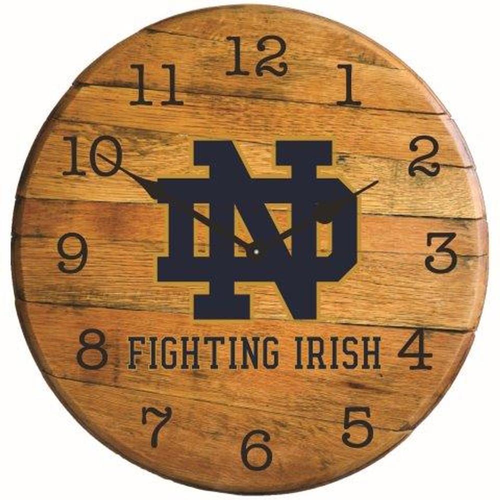 "Notre Dame Irish Logo 21"" Barrel Team Clock   GREENSTONES  BTC-ND-01"
