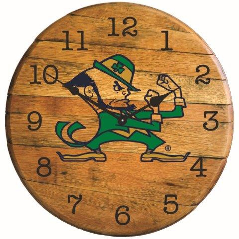 "Notre Dame Irish Logo 21"" Barrel Team Clock   GREENSTONES  BTC-ND-02"