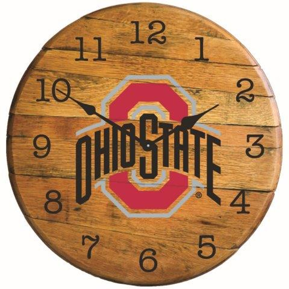 "Ohio State Buckeyes 21"" Barrel Team Logo Clock  GREENSTONES  BTC-OHIOST-01"