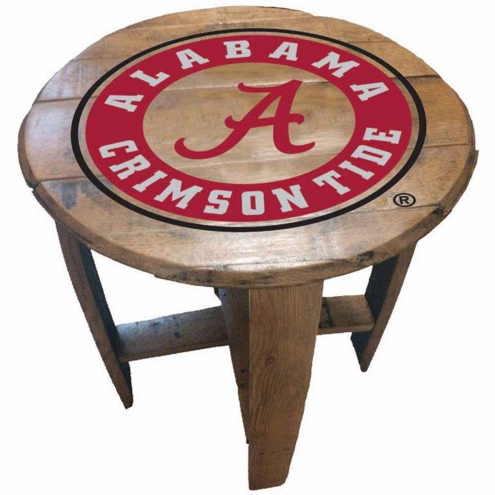 "Alabama Crimson Tide 21"" Barrel Team Logo Table   GREENSTONES  BTT-ALA-01"