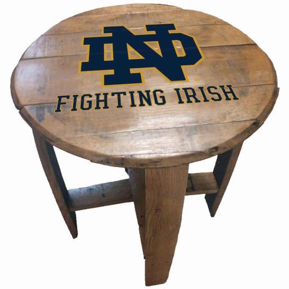 """Notre Dame Irish 21"""" Barrel Team Logo Table  GREENSTONES   BTT-ND-01"""