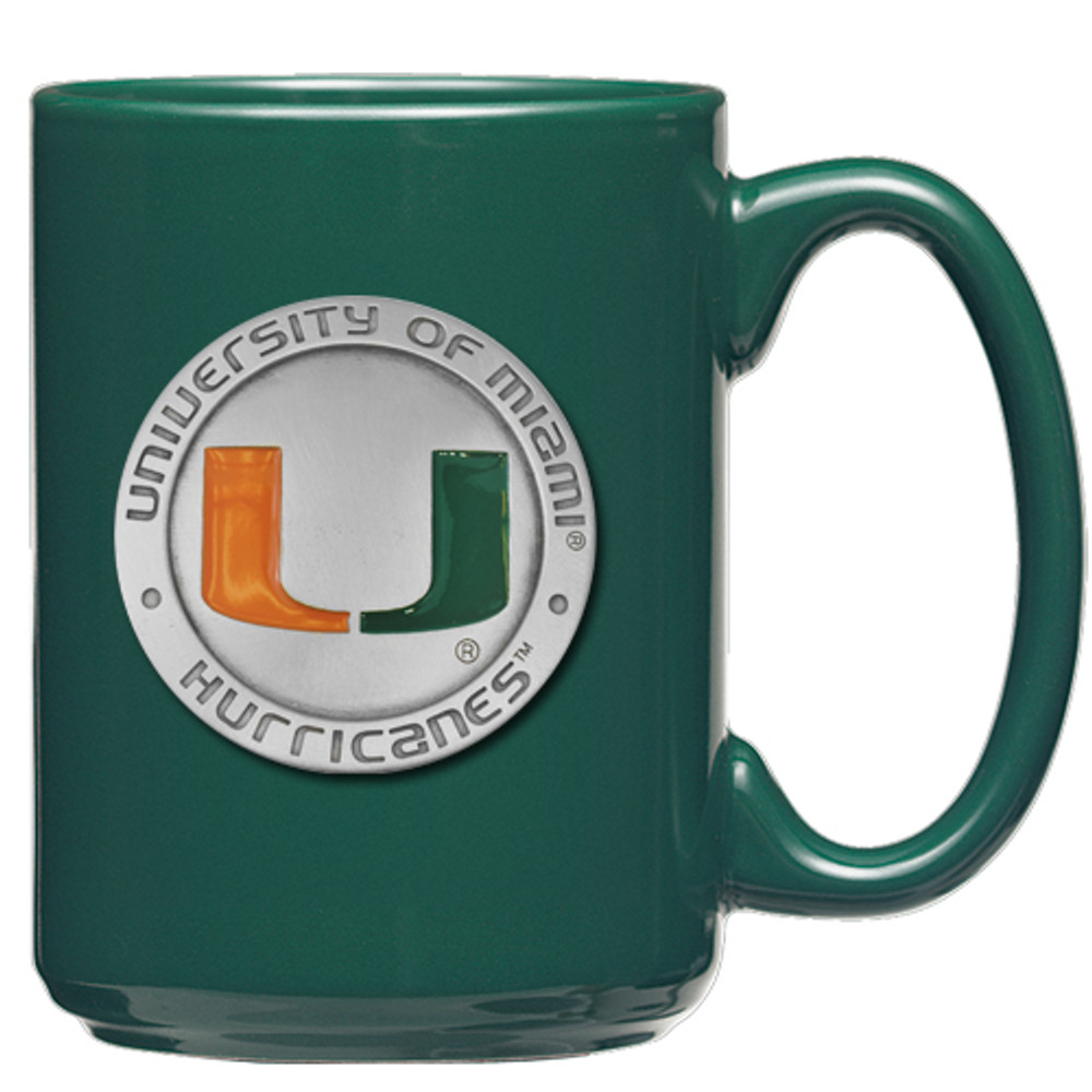 Miami Hurricanes Coffee Mug Set of 2 | Heritage Pewter | CM10185E