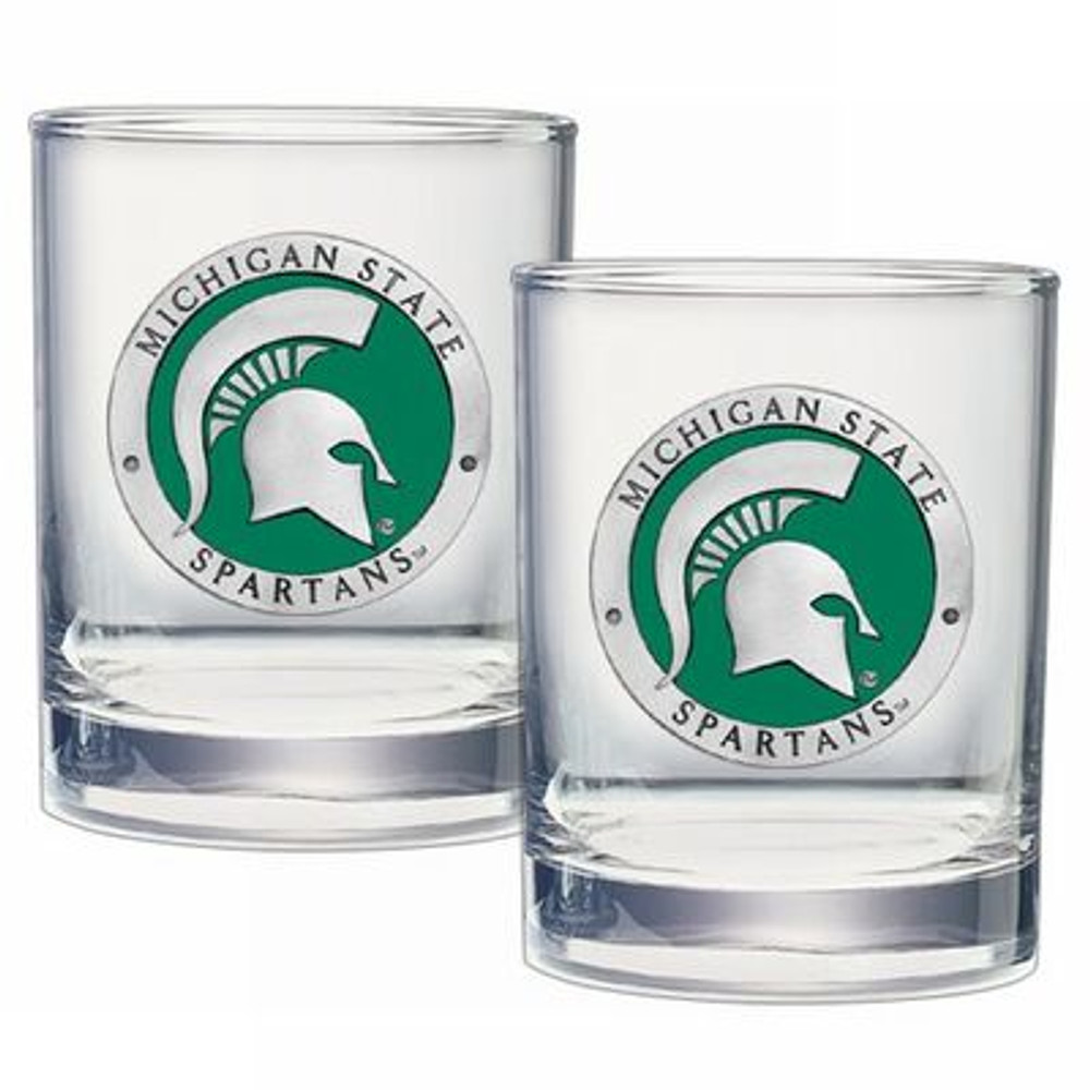 MSU Spartans Cocktail Glasses | Heritage Pewter | DOF10171E