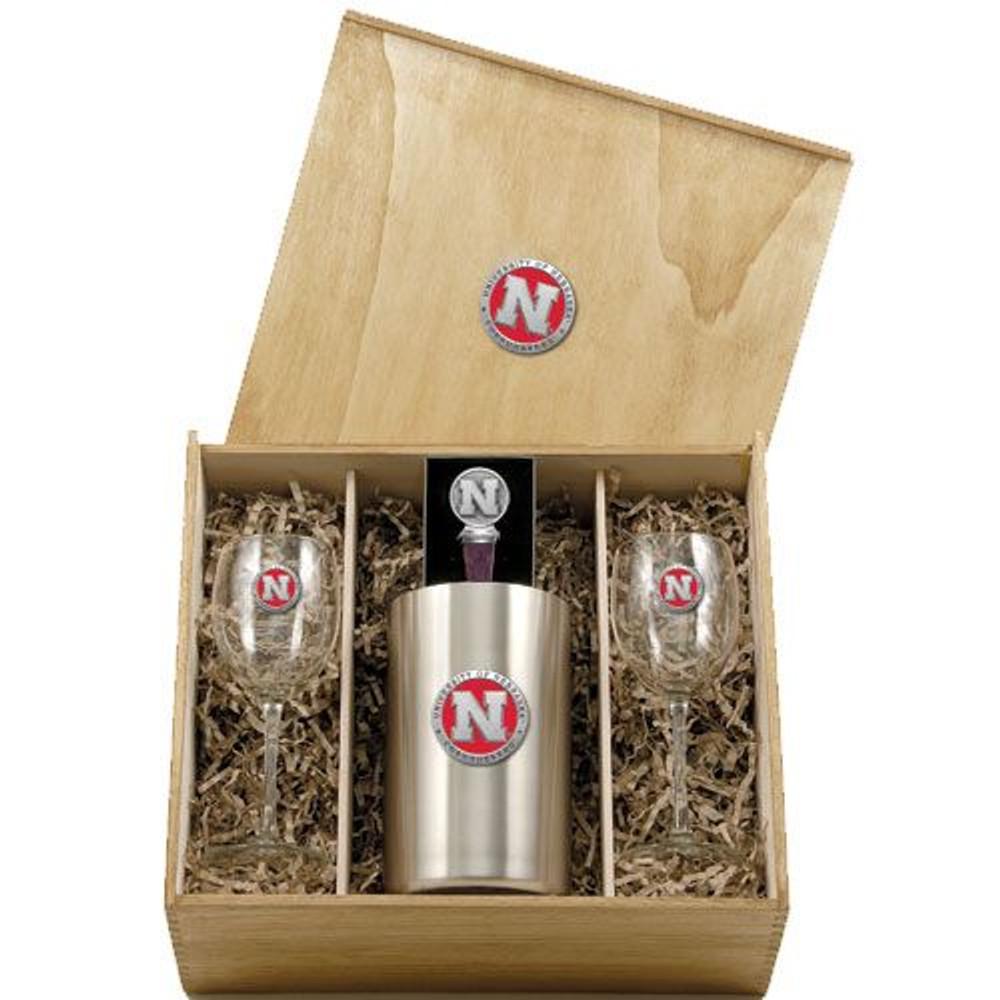 Nebraska Huskers Wine Box Set | Heritage Pewter | WSB10183ER