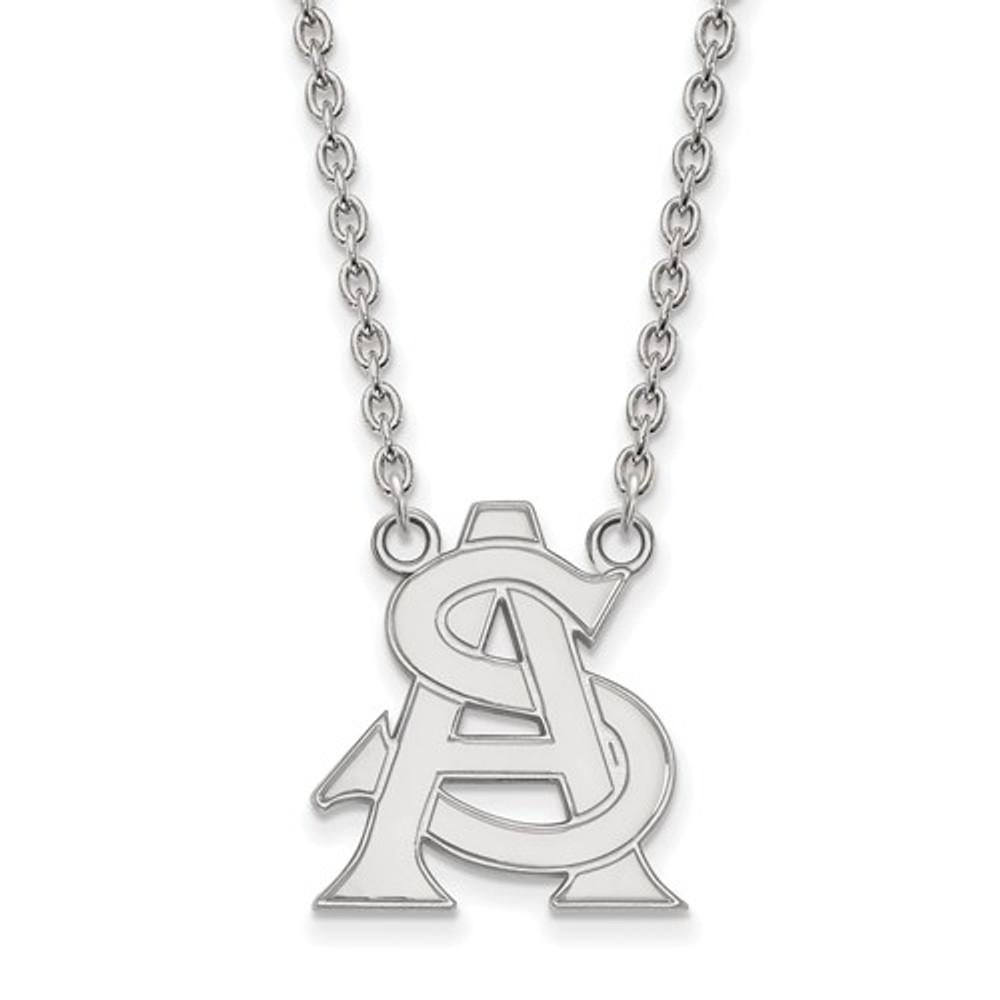 Arizona State Logo Sterling Silver Pendant Necklace | Logo Art | SS033AZS-18