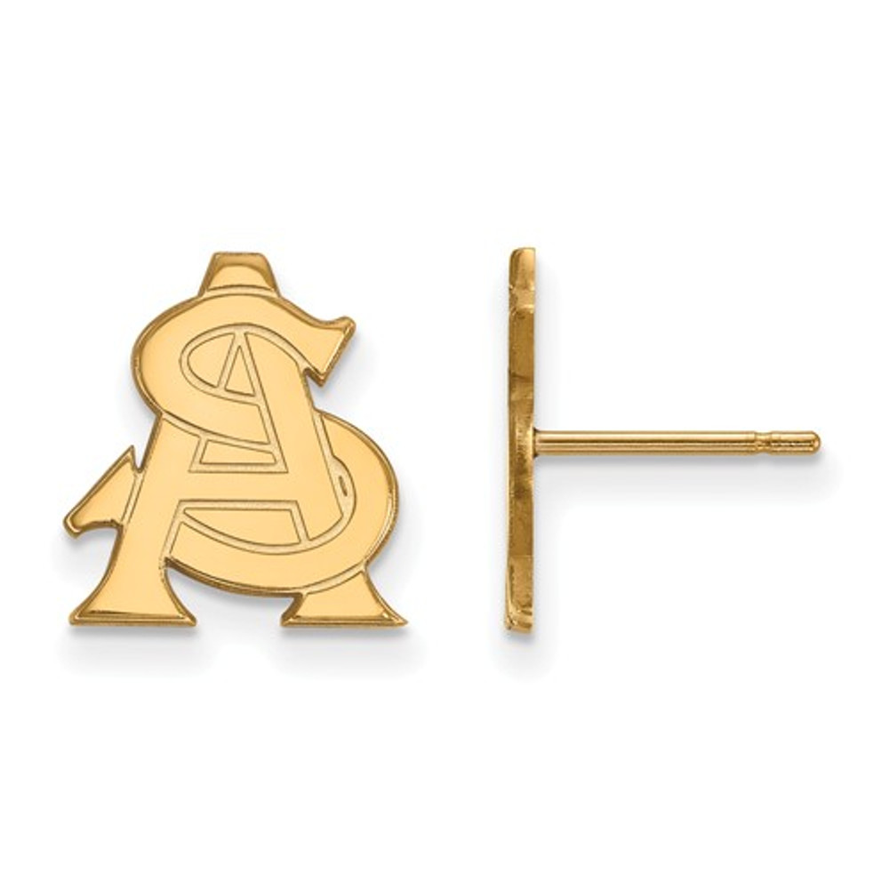 Arizona State AS Sun Devils 14K Gold Post Earrings | Logo Art | 4Y031AZS