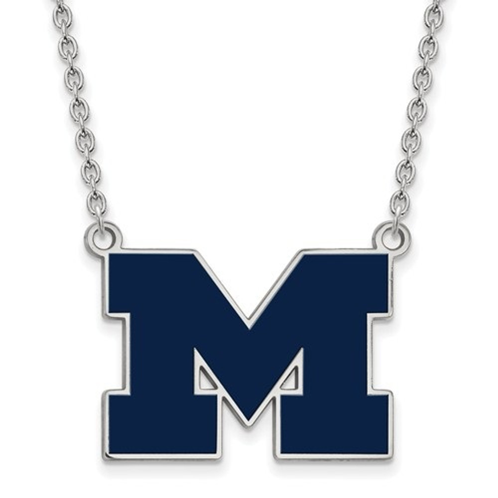 Michigan Wolverines Blue Enamel and Silver Necklace | Logo Art | SS060UM-18