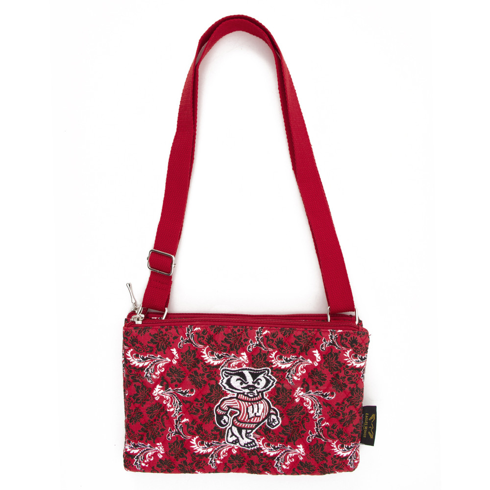Wisconsin Badgers Quilted Cotton Crossbody Purse | Eagles Wings| 10220