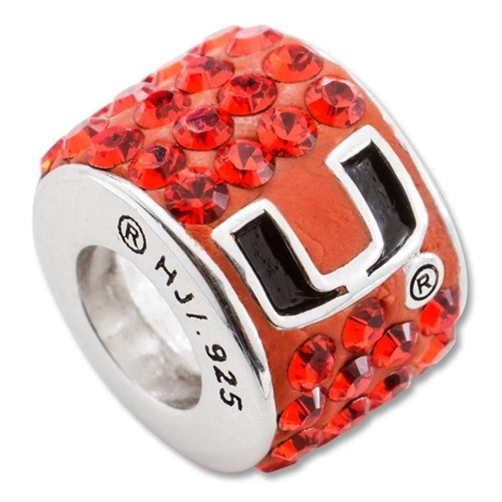 Miami Hurricanes Sterling Silver Bracelet Bead Charm | Logo Art | LGAUMF070CHM-SS