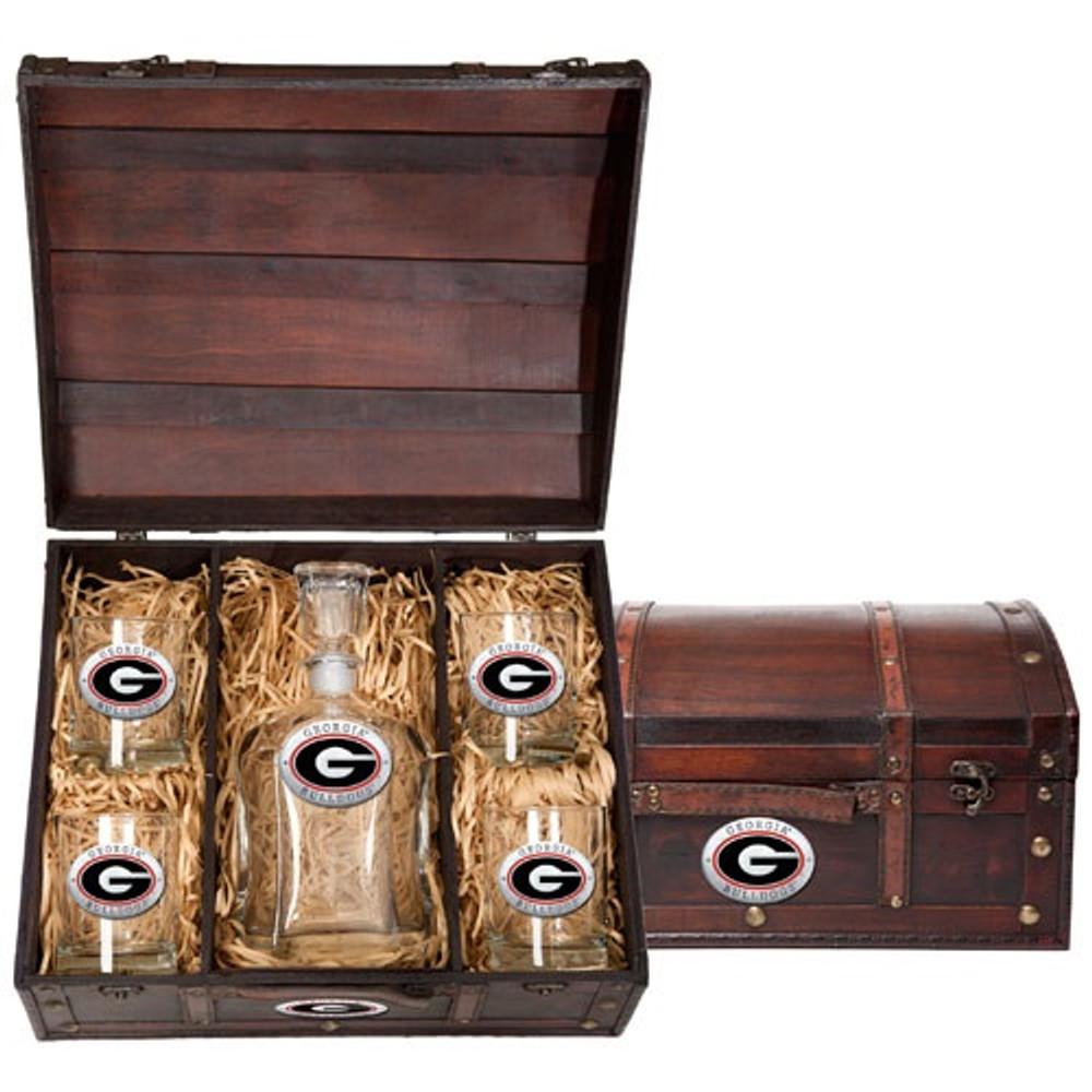 Georgia Bulldogs Decanter Chest Set | Heritage Pewter | CPTC10005ER