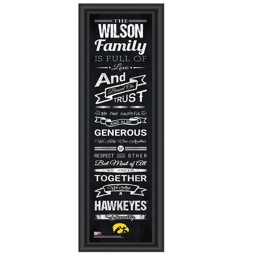 Iowa Hawkeyes Personalized Family Cheer Print | Get Letter Art | IOWFAM