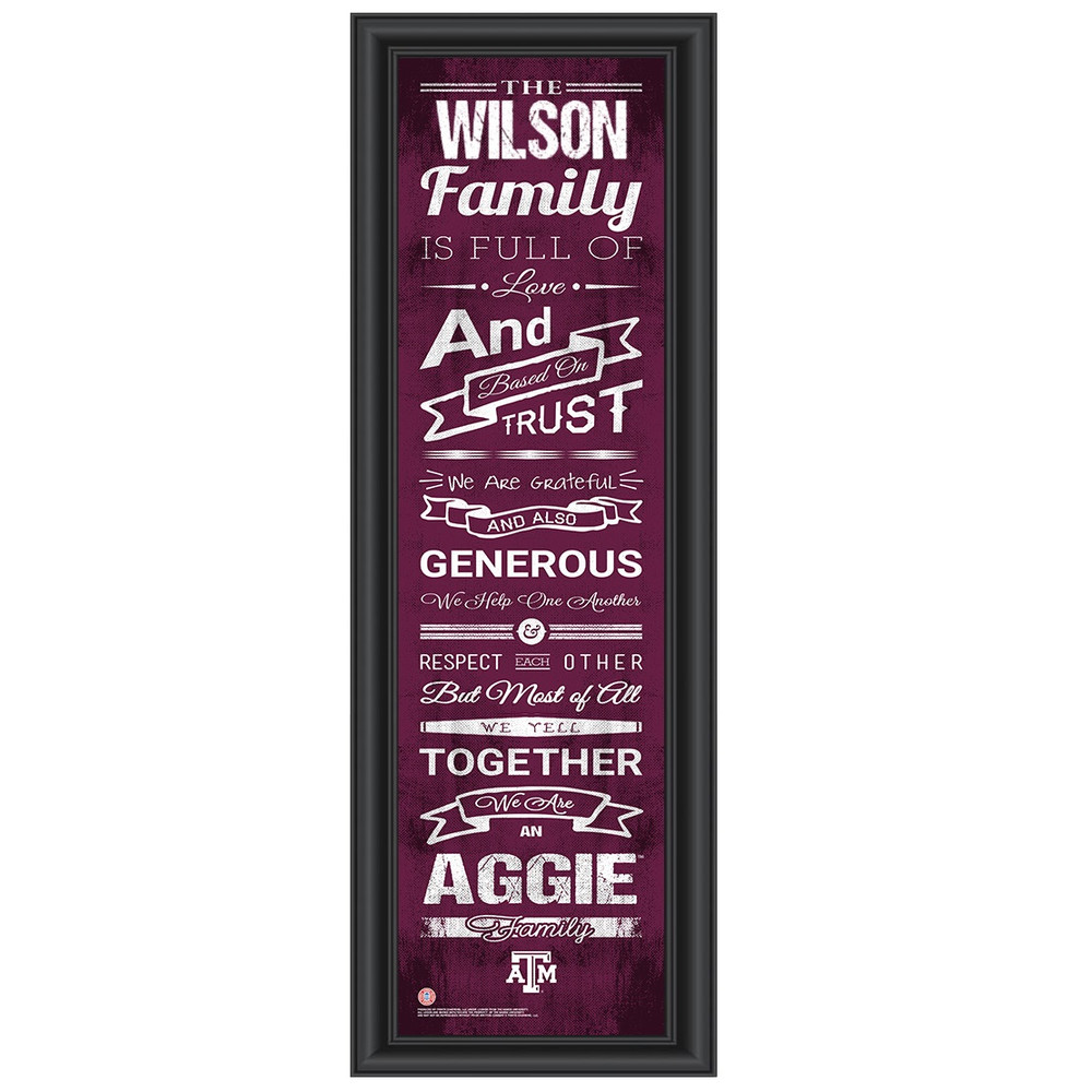 Texas A&M Aggies Personalized Family Cheer Print | Get Letter Art | TEXAMFAM