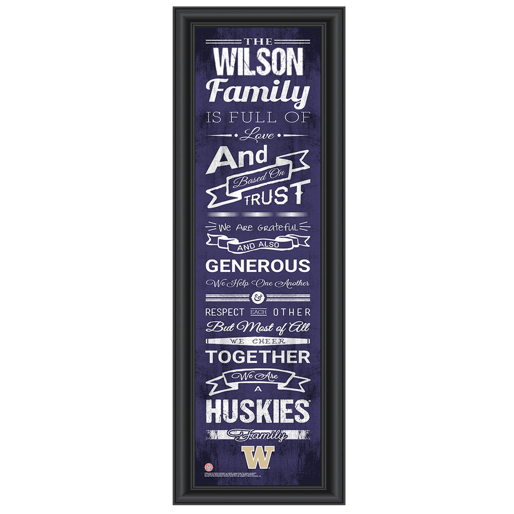 Washington Huskies Personalized Family Cheer Print | Get Letter Art | WASHFAM