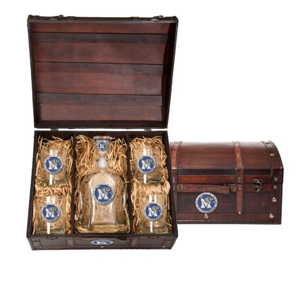 Memphis Tigers Decanter Chest Set | Heritage Pewter | CPTC10320EB