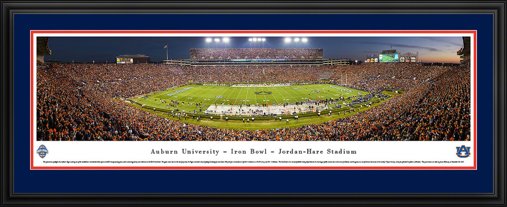 Auburn Tigers Panoramic Photo Deluxe Matted Frame - 50 Yard Line | Blakeway | AUB4D
