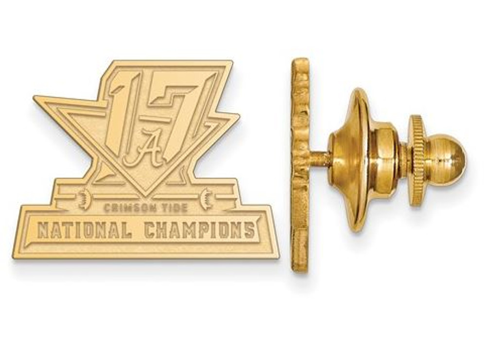 2017 National Champions Alabama Crimson Tide Sterling Silver Gold Plated Crest Lapel Pin | Logo Art | GP006CFA17