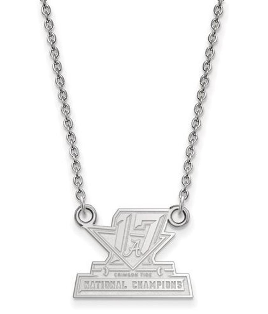 2017 National Champions Alabama Crimson Tide Sterling Silver Small Pendant Necklace | Logo Art | SS008CFA17-18