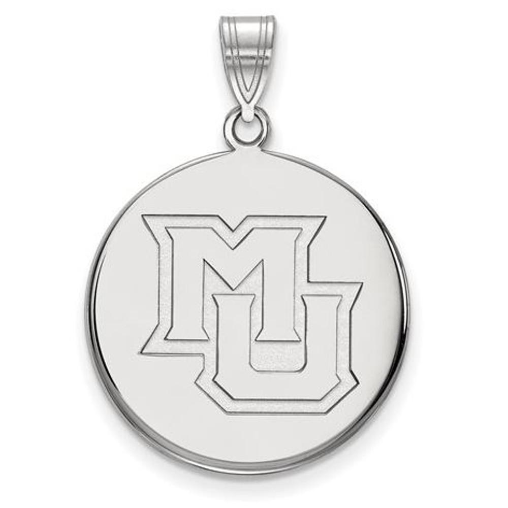 Marquette University 10k White Gold Large Disc Pendant | Logo Art | 1W024MAR
