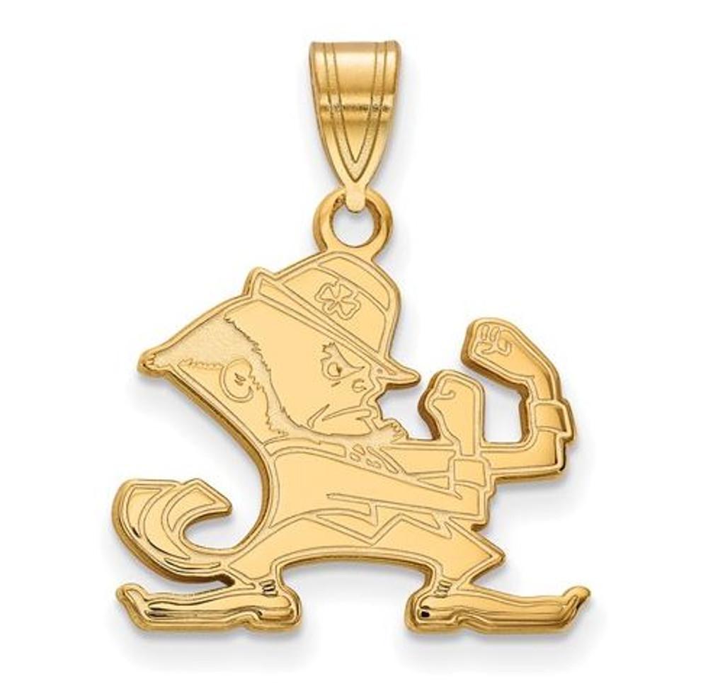 Notre Dame Fighting Irish Gold Plated Sterling Silver Medium Pendant   Logo Art   GP045UND