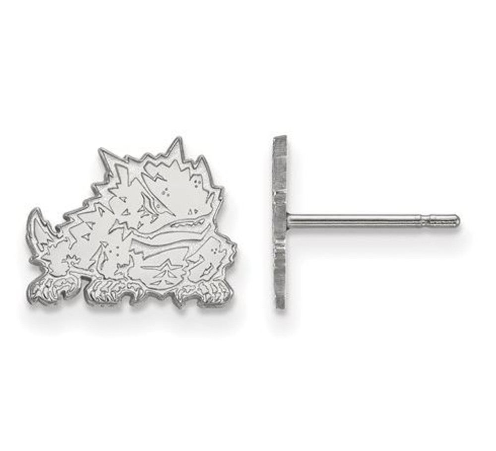 TCU 14k White Gold Extra Small Post Earrings | Logo Art | 4W022TCU