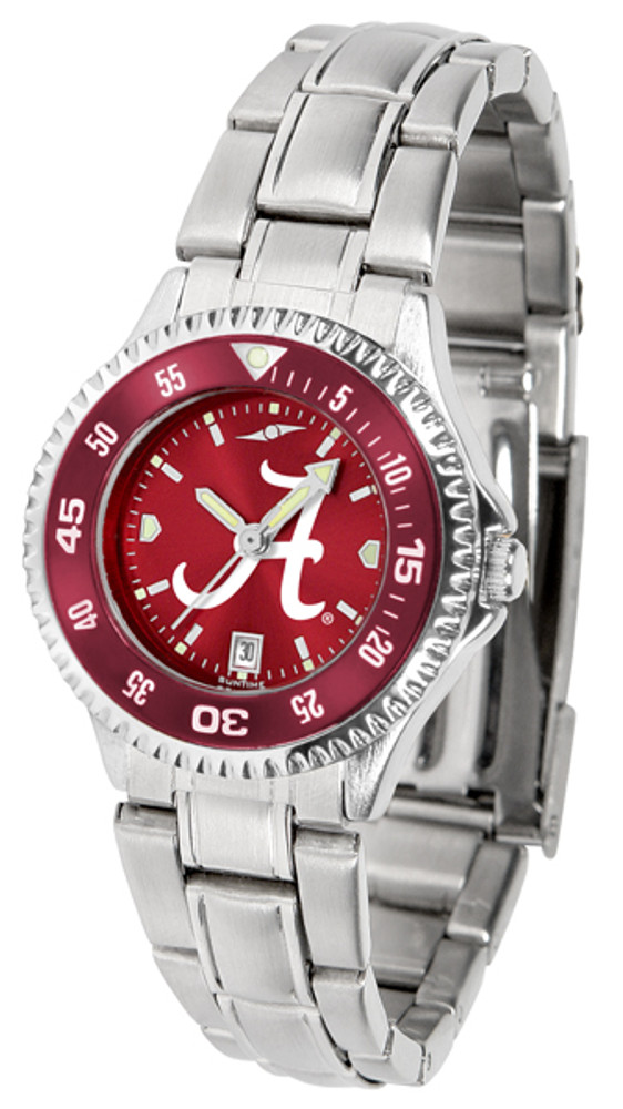 Alabama Crimson Tide Ladies Competitor Steel AnoChrome Watch with Color Bezel | SunTime | ST-CO3-ACT-COMPLM-AC
