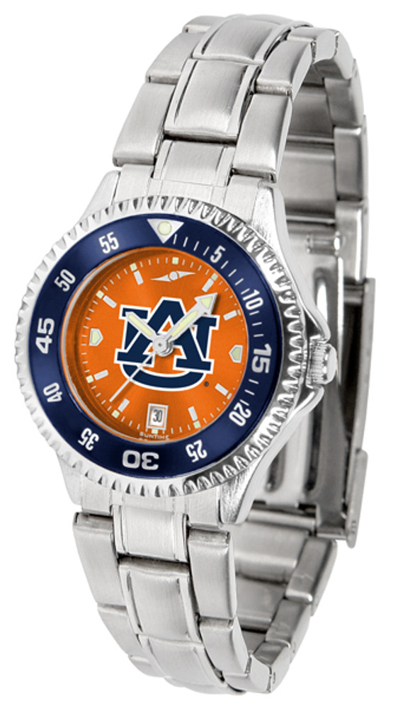 Auburn Tigers Ladies Competitor Steel AnoChrome Watch with Color Bezel | SunTime | ST-CO3-AUT-COMPLM-AC