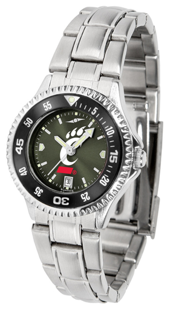 Cincinnati Bearcats Ladies Competitor Steel AnoChrome Watch with Color Bezel   SunTime   ST-CO3-CIB-COMPLM-AC