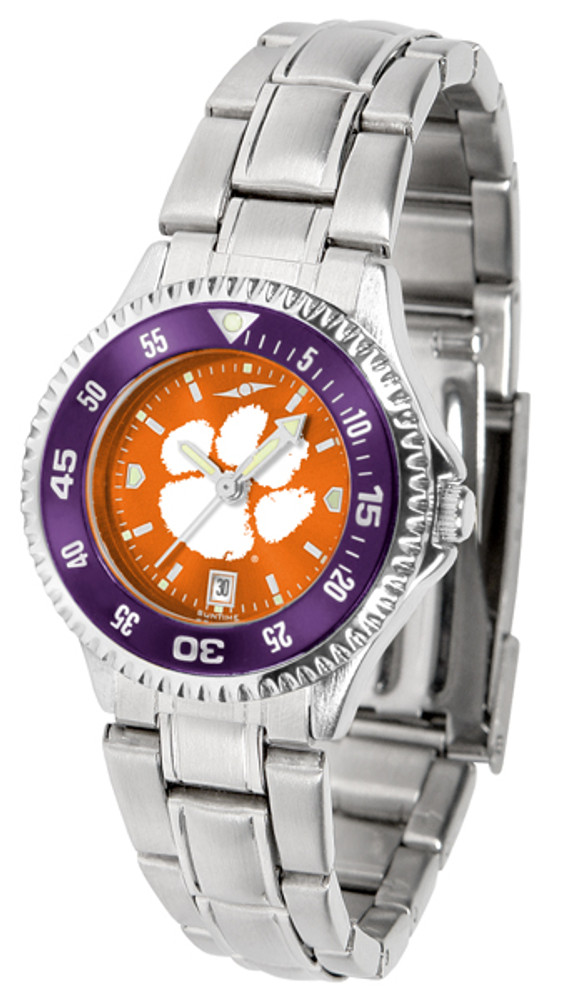 Clemson Tigers Ladies Competitor Steel AnoChrome Watch with Color Bezel | SunTime | ST-CO3-CLT-COMPLM-AC