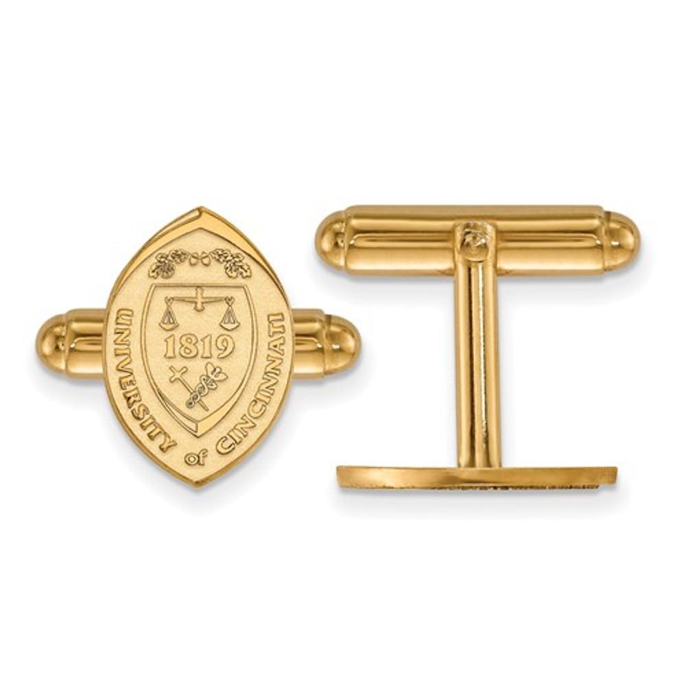 University of Cincinnati Sterling Silver Gold Plated Crest Cuff Links   Logo Art  GP043UC