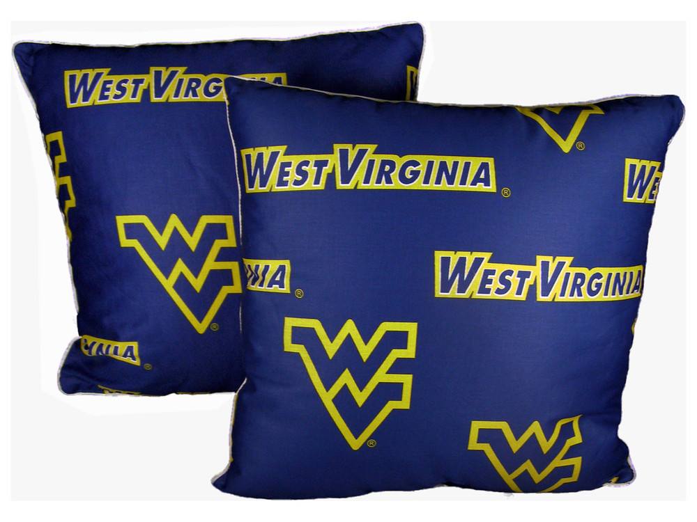 """West Virginia Mountaineers 16"""" x 16"""" Decorative Pillow Pair   College Covers   WVADPPR"""