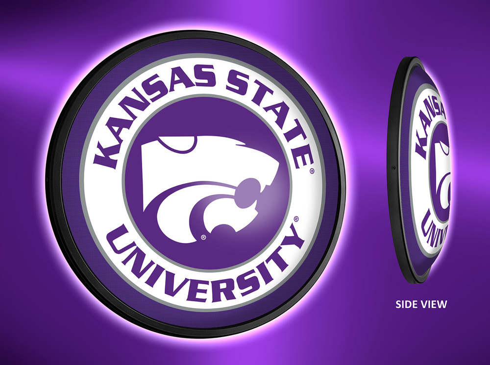 Kansas State Wildcats Slimline Illuminated LED Wall Sign-Round Logo | Grimm Industries | KS-130-01