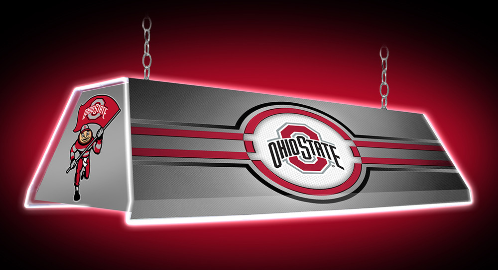 """Ohio State Buckeyes 46"""" Edge Glow Pool Table Light-Silver 