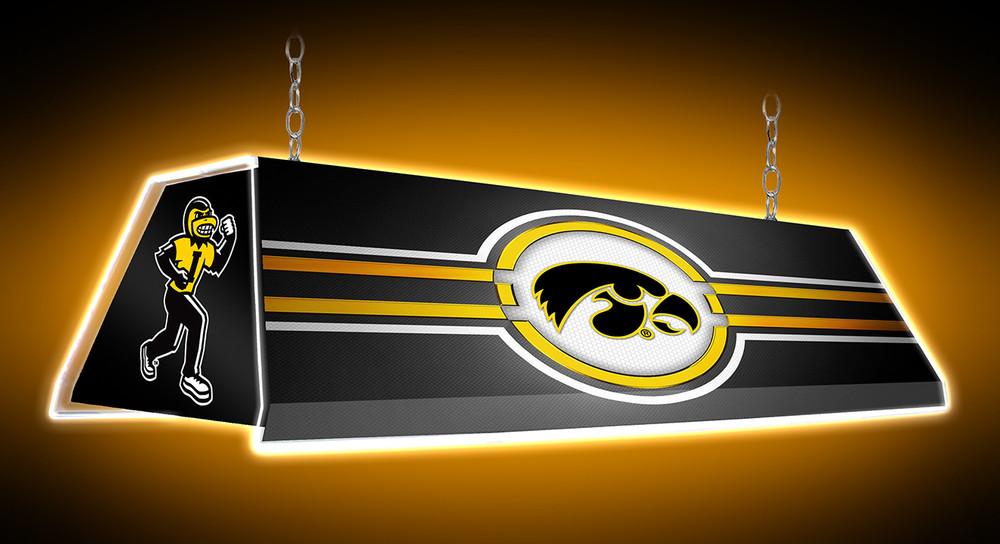 "Iowa Hawkeyes 46"" Edge Glow Pool Table Light-Tigerhawk-Black |Grimm Industries | IA-320-01"