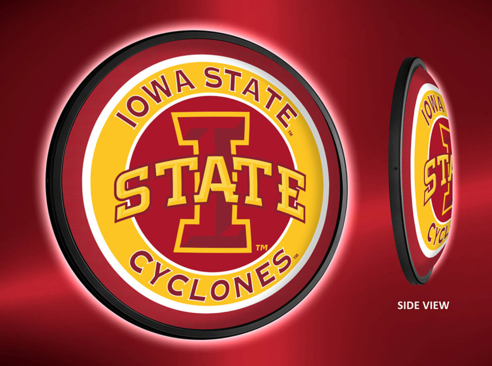 Iowa State Cyclones Slimline Illuminated LED Wall Sign-Round Logo |Grimm Industries | IS-130-01