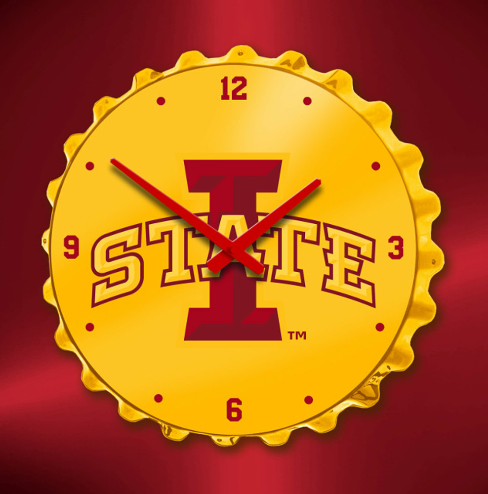 Iowa State Cyclones Bottle Cap Wall Clock | Grimm Industries | IS-540-01