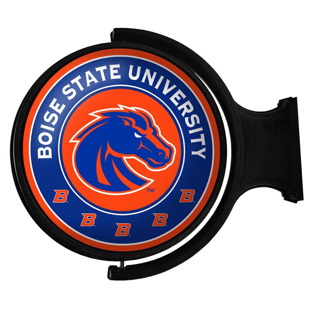 Boise State Broncos Rotating Illuminated LED Team Spirit Wall Sign-Round-Primary logo-Orange | Grimm Industries |BS-115-02