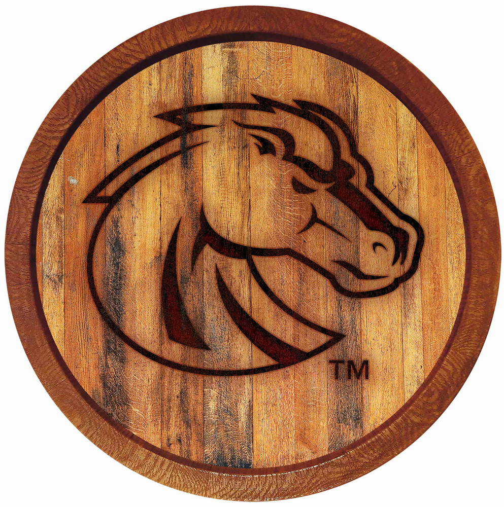 Boise State Broncos 20 inch Barrel Team Logo Wall Sign-Primary Logo-Branded | Grimm Industries |BS-240-02