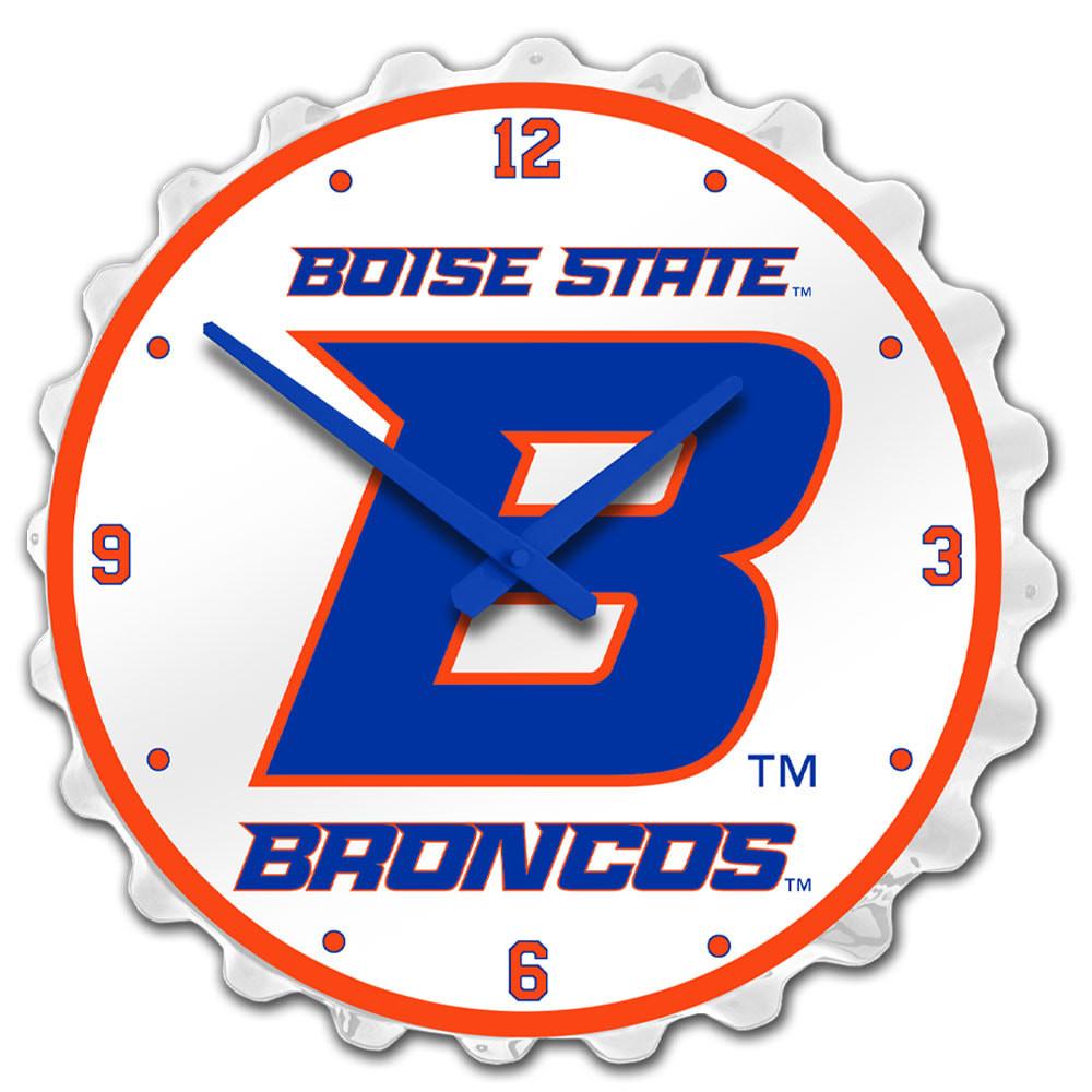 Boise State Broncos Team Spirit Bottle Cap Wall Clock-Academic B on White | Grimm Industries |BS-540-01