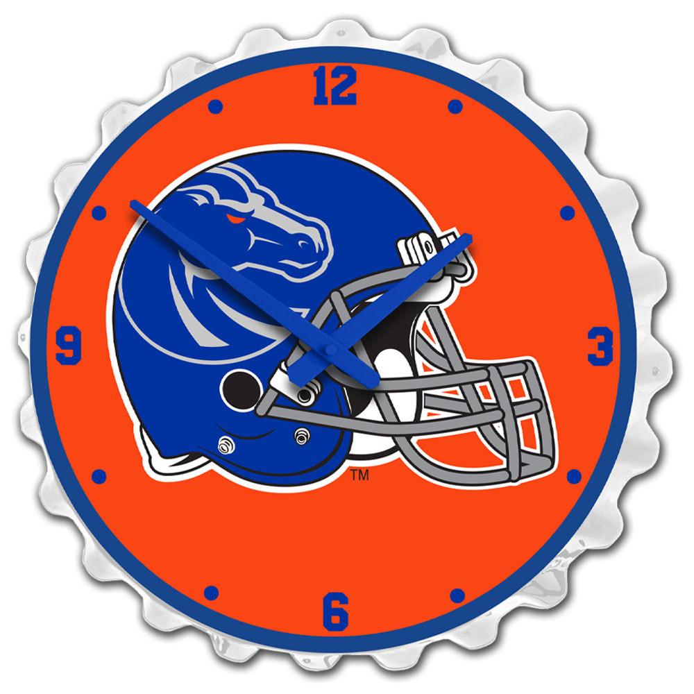 Boise State Broncos Team Spirit Bottle Cap Wall Clock-Helmet on White   Grimm Industries  BS-540-04