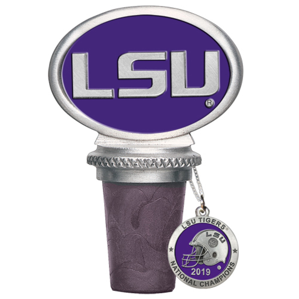 LSU Tigers National Champions Bottle Stopper   Heritage Pewter   BS11226EP