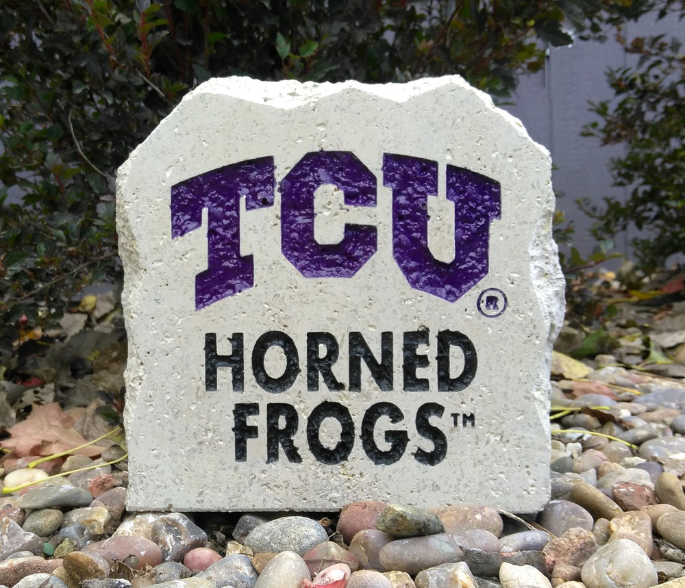 TCU Horned Frogs Decorative Stone 7  Stoneworx   TCU15