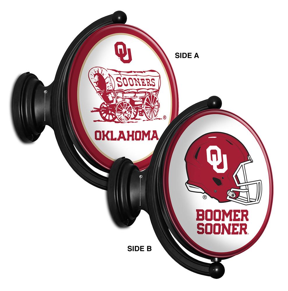 Oklahoma Sooners Rotating Illuminated LED Team Spirit Wall Sign Oval -2 Sided | Grimm Industries |OK-125-04