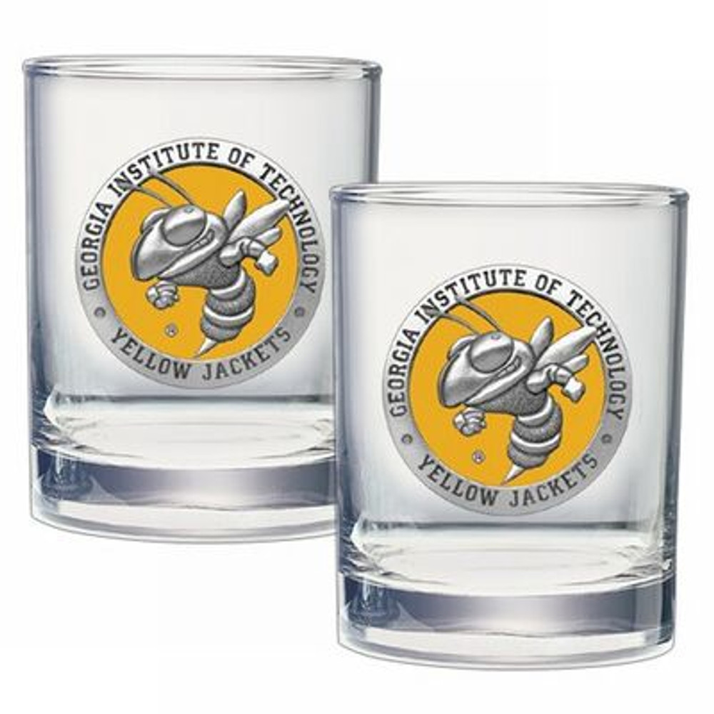 Georgia Tech Yellow Jackets Cocktail Glasses | Heritage Pewter | DOF10182EY