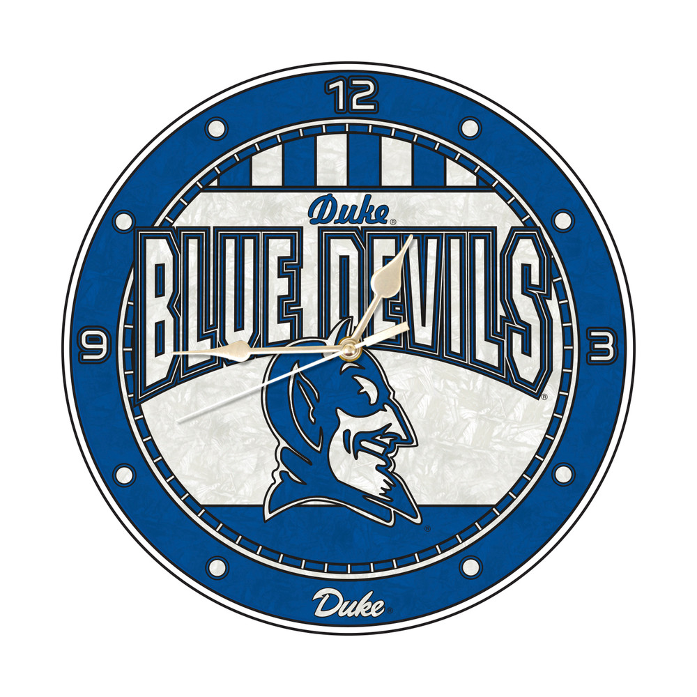 Duke Blue Devils 12in Art Glass Clock | MEMORY COMPANY |  COL-DUK-274