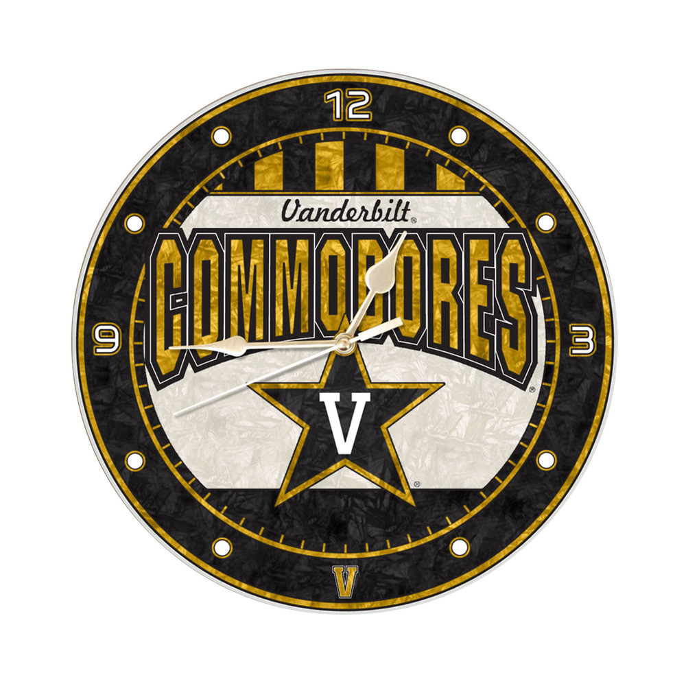 Vanderbilt Commodores 12in Art Glass Clock | MEMORY COMPANY |  COL-VAN-274