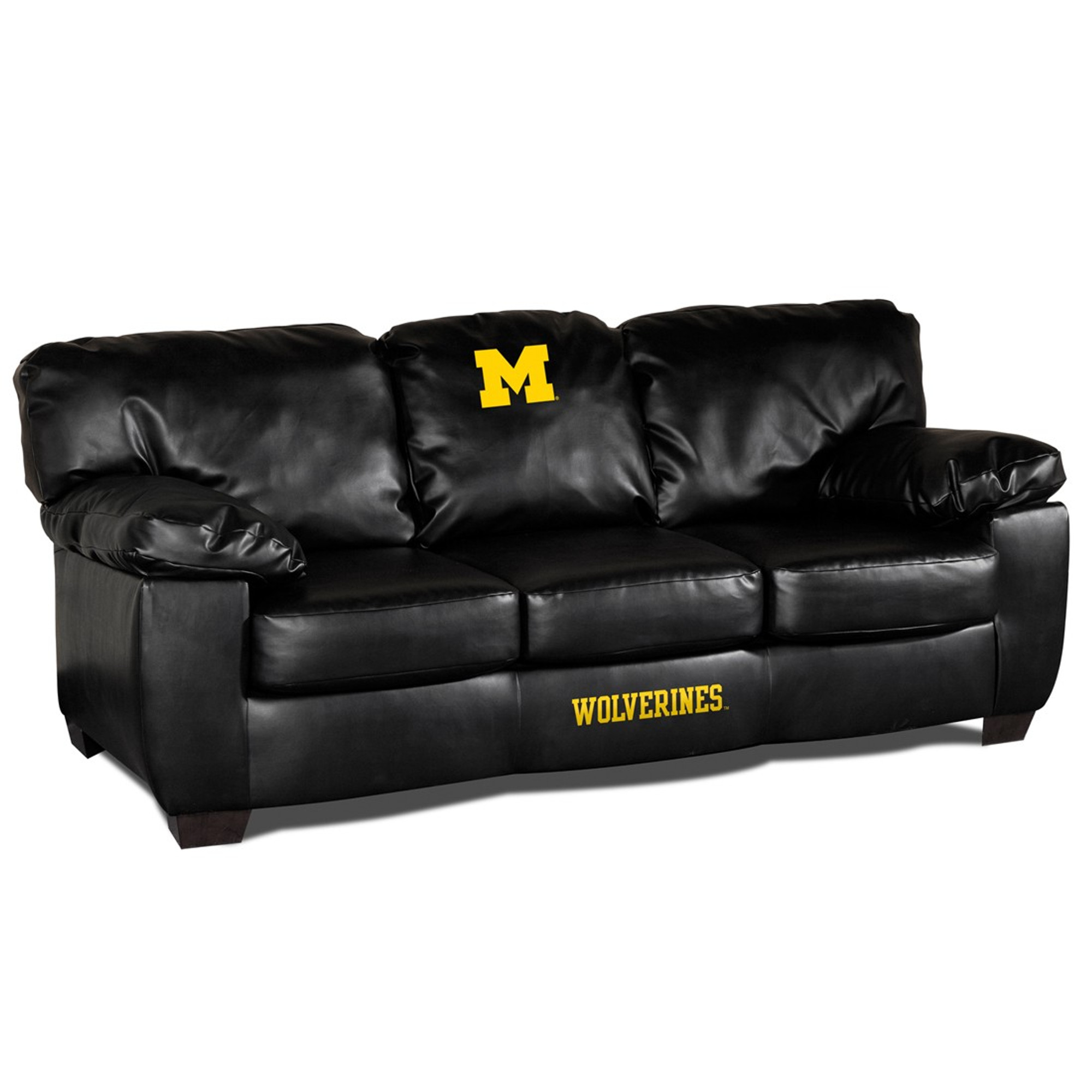 Michigan Wolverines Classic Leather Sofa