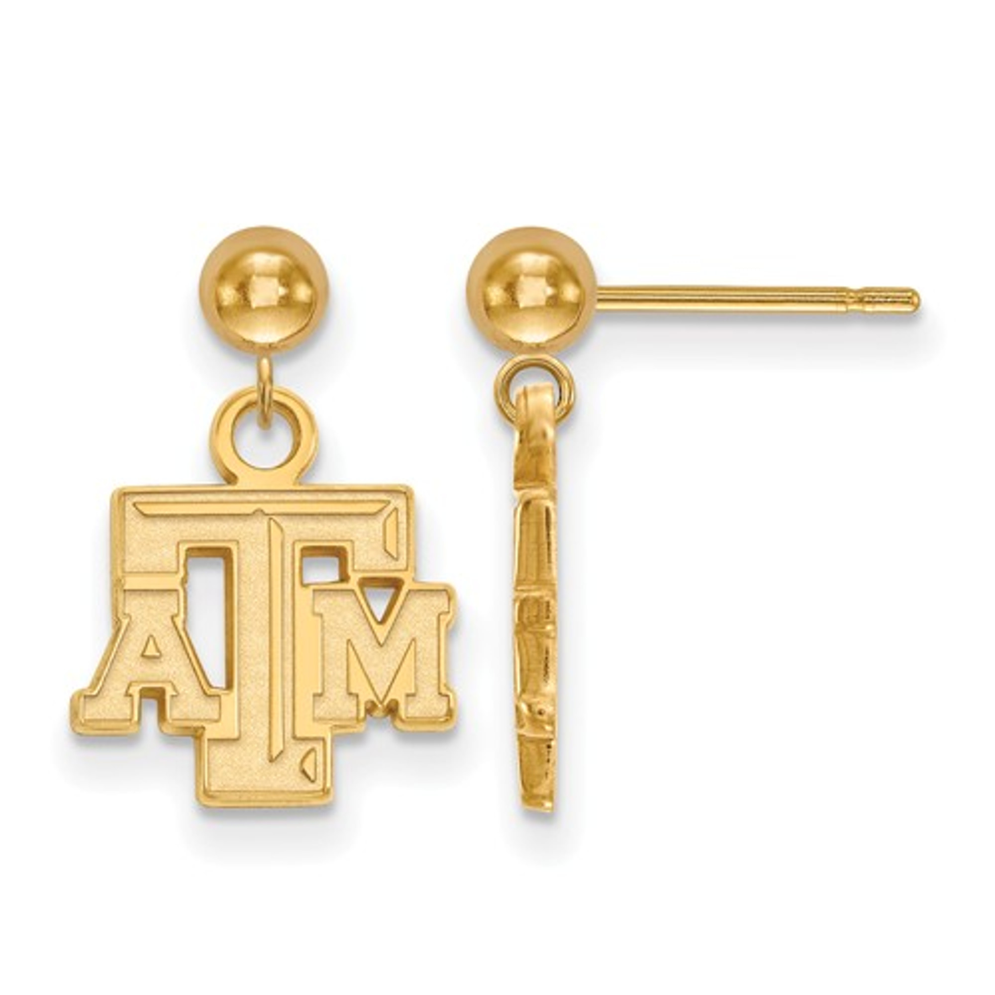 Texas Tech Jewelry Diamontrigue Jewelry: Texas A&M Aggies Letter 14K Gold Dangle Earrings