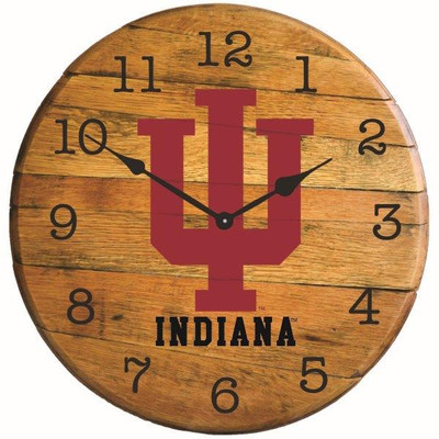 "Indiana Hoosiers 21"" Barrel Team Logo Clock | GREENSTONES |BTC-IND-01"