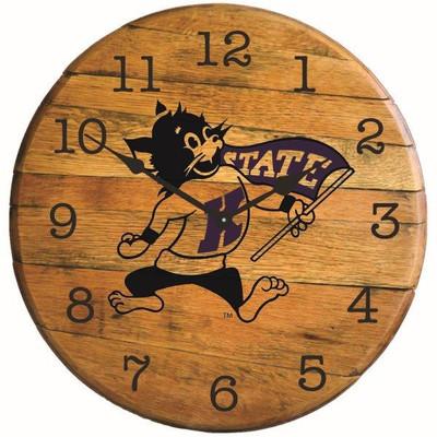 """Kansas State Wildcats Willie 21"""" Barrel Team Logo Clock - Willie"""